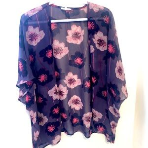 Maurices purple floral ruana kimono